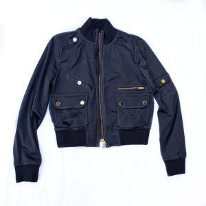 Fay Italy Black Shine Bomber Jacket large